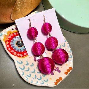 Bon Bon 3 tiered Earrings Hot Pink